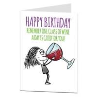 Funny Silly Quirky Birthday Card For Women Female Best Friend Wine Theme