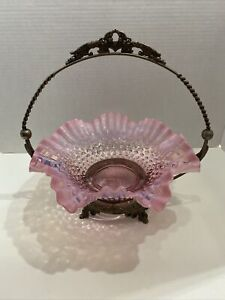 Fenton Pink Cranberry Opalescent Hobnail Ruffled Edge Dish w/Silver Tone Holder