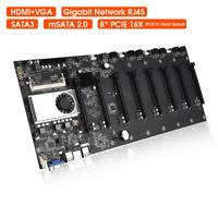Mining Motherboard w/ CPU & Fan Set 8 GPU Slots PCIE 16X DDR3 Memory ATX 24PIN