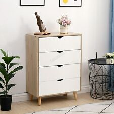 WestWood Chest of 4 Drawers Bedside Cabinet Wood Tall Storage Organiser Bedroom