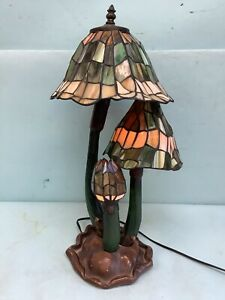 """Reproduction Stained Glass Mushroom Lamp 20 1/2"""" Tall"""