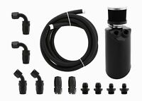 Aluminium Baffled Engine Oil Catch Can w/ Hose kit AN8 for Ford Falcon FG Black