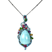 REAL AMAZONITE RUBY AMETHYST CITRINE TOURMALINE STERLING 925SILVER NECKLACE 18.5