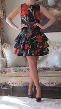 DOLCE&GABBANA Runway Artistic Carnations,Ruffles Layers dress IT 40,US 4-6,XS-S