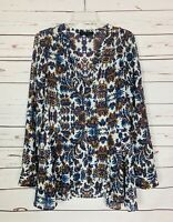 Sanctuary Anthropologie Women's Sz L Large White Floral Spring Blouse Shirt Top