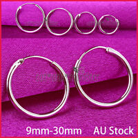 925 STERLING SILVER MENS WOMEN KIDS HOOP SLEEPER EARRINGS GIFT NOSE EAR PIERCING