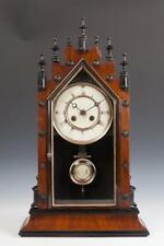 19Th Century Mahogany Steeple Form Mantle Clock With Turned Finials. . Lot 748