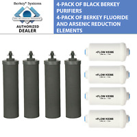 4 Black Berkey and 4 PF-2 Fluoride Filters - Big Travel Royal Crown Imperial BB9