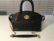 Authentic ROBERTO CAVALLI Black Caviar Leather Bowling Hand Shoulder Bag