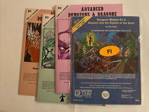 AD&D Modules D1 D2, D3, D1-2. All First Printings LOT. D&D LOT   TSR
