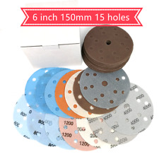 "6"" 15 Hole Hook and Loop Film Sanding Disc Sander Round Sandpaper 600-5000 Grit"
