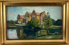 Ölbild Alter Landsitz Schloss in Dänemark signiert Vintage 20er Jahre Antik