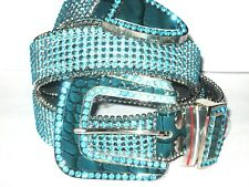 """7 Lines Baby Blue Rhinestones Turquoise Gen Leather Bling Belt SIZE S/M 43=44"""""""
