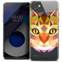 "Coque Housse Etui Pour LG Q6 (5.5"") Polygon Animal Souple Fin Chat"