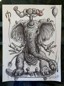 Day 3 Elephant Sk8r Sketch - Original drawing from Drink&Draw With Tai session