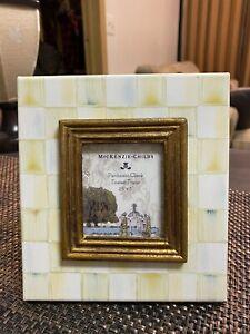 "Mackenzie Childs Parcment Check 2.5""X 3"" Photo Frame, Tiny Knick In Corner"