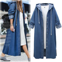 Women's Plus Size Jean Jacket Hooded Trench Long Coat Clothes Lady Outwear