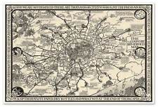 """Bus Service Map of Old LONDON England, City & Countryside circa 1923 - 24"""" x 36"""""""