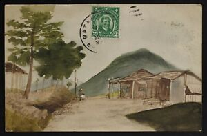 Original watercolor sketch / painting on a postcard,USA Philippines circa 1910