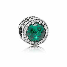 "Pandora Charm Bead 791725NSG "" Strahlenkranz der Herzen"" grün 925 Sterlingsilber"