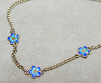 "Blue Enamel Dainty Flower Sterling Silver 18"" Chain Necklace 5j 47"