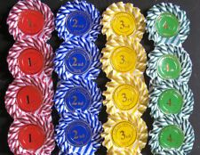 Candy stripe Rosettes 4 x 1st to 4th 1 tier SHOW NAME INCLUDED,