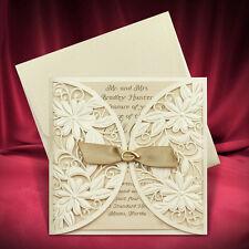 50 Laser Cut Wedding Invitation Cards Ivory Lasercut Invitations Free Shipping