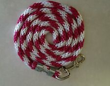 """Horse Nylon Lead Rope 70 """"with steel  Swivel Snap-raspberry/white CANDY CANE"""