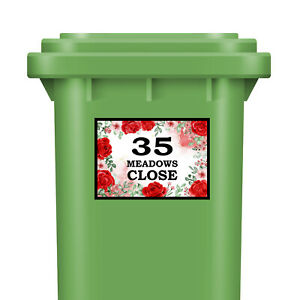 Personalised Wheelie Bin Stickers House Number With Street Dustbin Red Floral