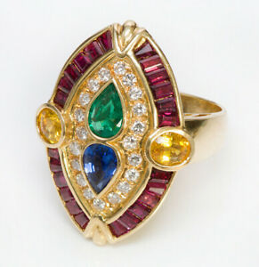 0.65ct Round Diamond Ruby Sapphire Emerald 14K Solid Yellow Gold Cocktail Ring