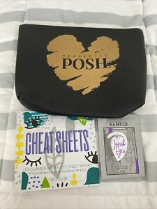 Perfectly Posh Gold Heart Cosmetic Bag with Cheat Sheets Free Impish Eyes Sample