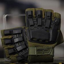 New Exalt Paintball Tactical Hard Shell Half Finger Gloves - Olive Drab - S/M