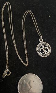 "Artisan Fleur De Lis French Sterling Silver 925 NECKLACE Pendant 20"" Chain"
