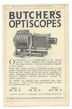 A 1925 Photgraphic/Camera Advertisment - Butchers Optiscope + Developing System.