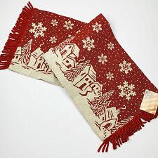 """Winter Village Christmas Scene Falling Snowflakes 36"""" Tapestry Table Runner"""