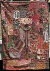56x40 Asian India Tibet Beaded Sequin Patchwork Tapestry Wall Hanging