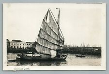Chinese Junk RPPC Rare Antique Boat Photo—Singapore—Rubber Stamp Co ~1920s