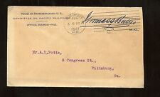 US Organization Advertising Cover (US House Reps Committee of Pacific Railroads)
