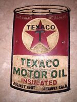 Texaco Sign Solid Metal Antique Style Oil Gas Advertisement Patina Retro F/G