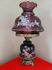 VINTAGE AMETHYST HURRICANE ELECTRIC TABLE LAMP PURPLE GWTW