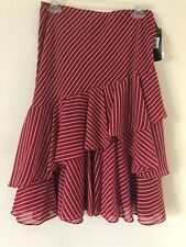 Ralf Lauren Womens Skirt Color Red Striped Size M NWT