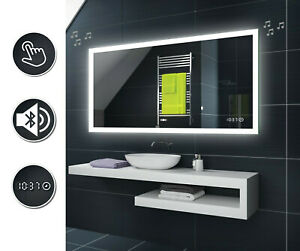 LED BAD SPIEGEL Beleuchtung mit Touch/Sensor Uhr Schalter BT Lautsprecher