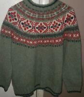 EUC Eddie Bauer Legend 100% Wool Sweater Women's XLarge Snowflake Design Green