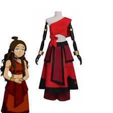 Avatar The Last Airbender Katara Girl Cosplay Costume Women Red Dress Halloween