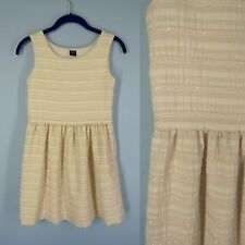 GAP KIDS Girl's Dress 12 XL Off White Textured Stripe Sparkle Holiday Occasion