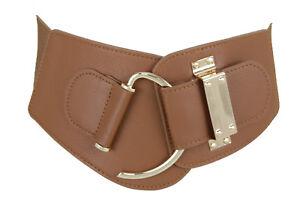 Women Brown Faux Leather Elastic Wide Waistband Belt Hip Waist Hook Buckle M L