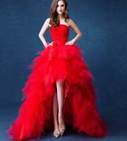 Wedding Women Dress Prom Red Bride Full Length Rose Floral Cocktail Ball Gown