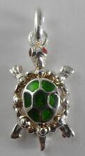 Sterling Silver Green Enamel Turtle Pendant/1.60 Gr.