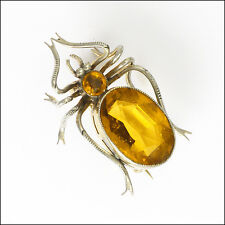 Art Deco Silver Amber Paste Spider or Bug Pin