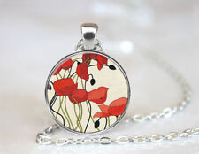 Vintage Red Poppy Jewelry Tibetan silver Dome Glass Art Chain Pendant Necklace